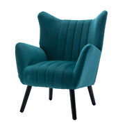 Vintage Barrel Chair Accent Armchair With Solid Wood Legs For Living Room Decor
