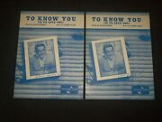 Perry Como To Know You Autographed Sheet Music - Lot Of 2 - Am 81