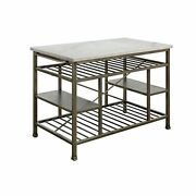 98402 Kitchen Island Counter - Marble And Antique Pewter
