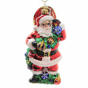 With Garland And Grace Santa Ornament Shiny Brite Christmas 1020391