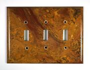 Red And Gold Onyx- 3 Triple Toggle Switchplates Set M03 Natural Stone Décor