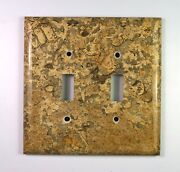 Spiral Fossil Marble- 3 Dbl Toggle Switchplates Set E03 Natural Stone Décor