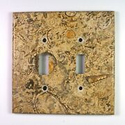 Spiral Fossil Marble- 3 Dbl Toggle Switchplates Set E01 Natural Stone Décor