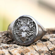 Unique 925 Silver Menand039s Wolf Head Ring Band Punk Gothic Jewelry Size 7-13