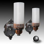 Pair Vintage Chrome And Copper Machine Age Deco Cylinder Shade Sconces C.1934