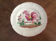 French Faience Hand Painted Large Rooster On Fence Plate