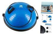 Zelus Balance Ball Trainer Half Yoga Exercise Ball With Resistance Bands Blue