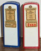 Vintage 1950and039s Plastic Esso Gas Station Gas Pumps Salt And Pepper Shakers