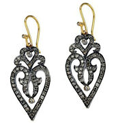 Victorian 2.10ct Rose Cut Diamond Heart Womenand039s Valentine Gift Bridal Earrings