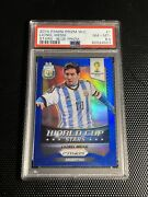 2014 Prizm Lionel Messi World Cup Stars Blue Jersey Numbered 10/199 Psa 8.5 Mint