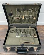 Antique Vintage Bell System Telephone Linemans Workman Tool Brief Case And Tools