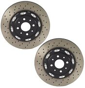 Brembo Pair Set Of 2 Front Drilled Pvt Floating Brake Disc Rotors For Abarth 500