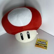 Super Mario Bros Red Mushroom Stuffed Plush Toad. New With Tags