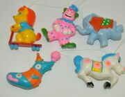 Lot Of 5 Sanitoy 1970s Circus Animals Clown Toy Plastic Carnival Ornament