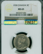 1930 Canada 5 Cents Ngc Ms65 Pq Finest Grade Mac Spotless