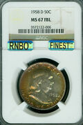 1958-d Franklin Hhalf Dollar Ngc Ms67 Fbl Rnbo And Mac Finest Registry Gorgeous