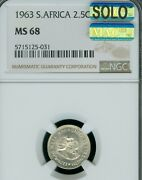 1963 South Africa 2.5 Silver Cents Ngc Ms-68 Solo Finest Grade Mac Spotless