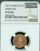 1967 South Africa 1 Cents Ngc Pr-64 Pq 2nd Finest Mac Spotless 50 Minted