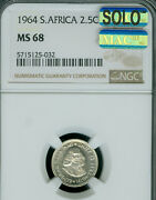 1964 South Africa 2.5 Silver Cents Ngc Ms-68 Solo Finest Grade Mac Spotless