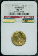 2006- 10 Gold Eagle Ngc Ms70 First Strike Red Label Finest Grade Mac Spotless