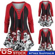 Plus Size Womens Skull Print Halloween Tops Blouse Ladies Lace Up V Neck T-shirt