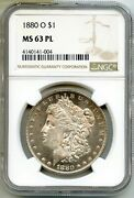 1880-o Morgan Silver Dollar Ngc Ms63 Pl Certified 1 New Orleans Mint Bq573