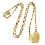 And Co. 18k Yellow Gold Cupid Heart Arrow Pendant Bead Chain Necklace 18