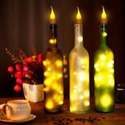 20led Flameless Candle Bottle Lights Cork Fairy String Light W/ Battery Operated
