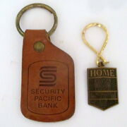 2 Vintage Bank Keychains Home Savings Brass And Security Pacific Leather Key Fobs