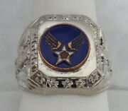 Vintage U.s. Army Air Force Winged Star Insignia Sterling Silver Ring 10 3/4