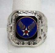 Vintage U.s. Army Air Force Winged Star Insignia Sterling Silver Ring Size 12