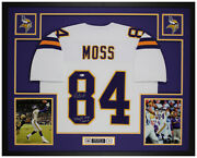 Randy Moss Autographed And Framed White Vikings Jersey Auto Beckett Coa
