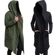 Mens Solid Hoodie Long Jacket Cardigan Casual Trench Cloak Cape Coat Outwear Hot