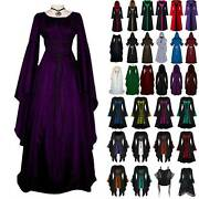 Womens Gothic Dresses Long Sleeve Costume Medieval Victorian Hooded Maxi Gown Us