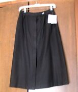 Evan Picone Black Wool Long Skirt Lined Size 10 Button Down Front 26 Waist Nos