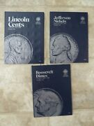 3 Whitman Coin Books Number One Dime 1946-64 Nickel 38-61 And Penny 09-40 Lot New