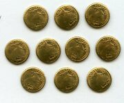 St Gaudens Gold Plated Miniature Mini Coins Lot Of 10 - Jl605