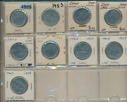 Italy - 100 Lire - 1lot Of 9 Early Dates 1955-1958 9 Coins - 4905