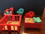 1972 Fisher Price Little People Changing Crib Rocking Horse Playpen Highchair