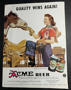 Cowgirl Western Acme Beer Ad Not A Sign Pin Up California 1940andrsquos Original