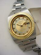 Excel Vintage 1970's Wittnauer Chunky Steel Diver's Automatic Gold Fluted Bezel