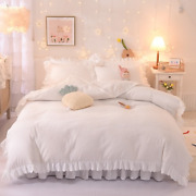 Luxury Solid Color Bedding Winter Thick Korean Princess Style Four-piece Double