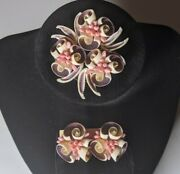 Vintage Coral Color Shell Brooch Pin And Earrings Matching Set Silver Tone Backs