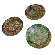 The Franklin Mint Heirloom Collector Plates By Bill Bell Set Of 3 Gold 04244