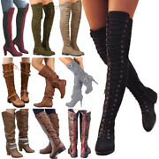 Womens Ladies Over The Knee Thigh High Heels Boots Stretchy Mid Calf Flats Shoes