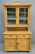 Antique 1880s Pine Eastern European Hutch With Blue Interior And Glass Doors