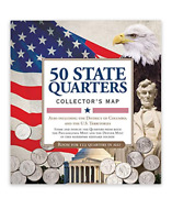 50 Fifty Us State Map Folder Coin Album Holder Commemorative Quarters Collectors