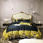 4 Piece Luxury Black And Golden Bedding Set King Queen Size Bed Sheets Gold