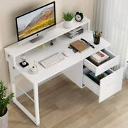 2drawer Computer Desk With Hutch Modern Writing Desk Pc Laptop Study Table