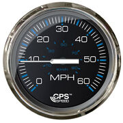 Faria Chesepeake Black Stainless Steel 4 Studded Speedometer 60mph Gps New